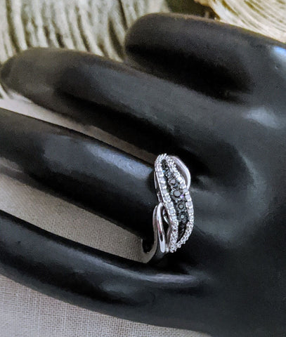 Fred Meyer Sterling Silver Black & White Diamond Ring