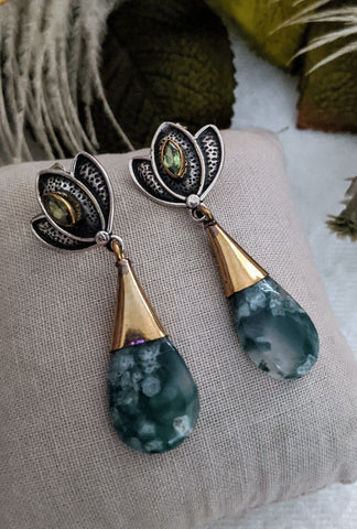 Artisan Sterling Silver Vermeil Moss Agate Peridot Earrings