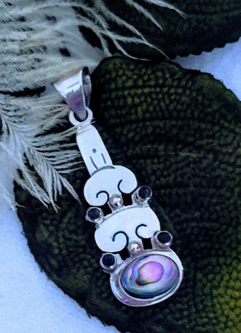 Artisan Crafted Sterling Silver Black Spinel Abalone Pendant