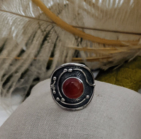 Artisan Crafted Sterling Silver Carnelian Ring