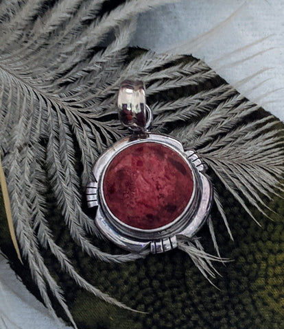 Artisan Crafted Sterling Silver Natural Coral Pendant