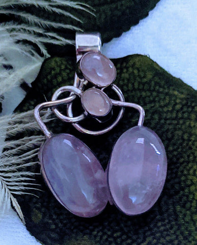 Unique Artisan Crafted Sterling Silver Rose Quartz Pendant