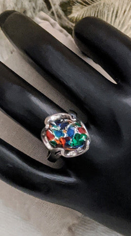 Vintage Mexico Sterling Art Glass Ring