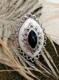 Vintage Sterling Silver Black Onyx White Agate Ring