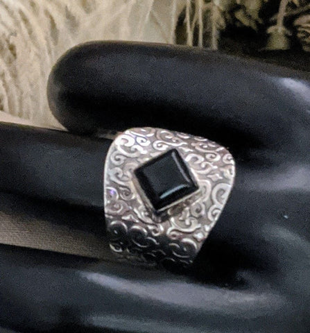 Artisan Sterling Silver Black Onyx Ring