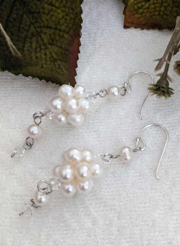 Artisan Crafted Sterling Silver Cultured Pearl Dangle Earrings