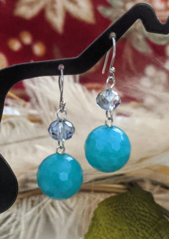 Artisan Sterling Silver Amazonite Crystal Earrings