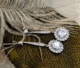 Sterling Silver CZ Drop Dangle Earrings