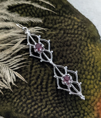 Artisan Crafted 14K White Gold Ruby CZ Pendant