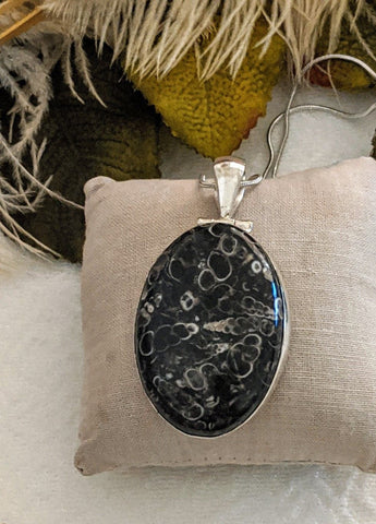 Large Artisan Crafted Sterling Silver Natural Fossil Turritella Pendant Necklace