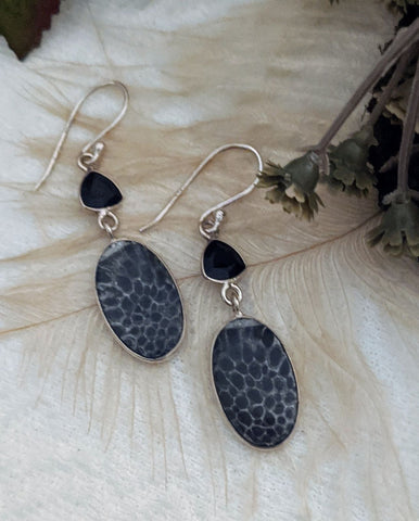 Artisan Sterling Silver Black Fossil Coral Onyx Earrings