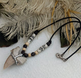 One of a Kind Silver Leather Bone Wood Fossilized Sharks Tooth Necklace