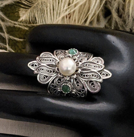Sterling Emerald Pearl Statement Ring