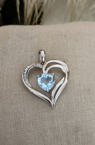 Sterling Silver Diamond Light Blue Topaz Heart Pendant