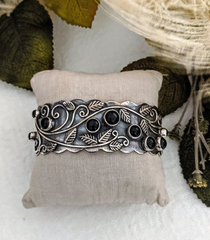 Artisan Crafted Sterling Silver Black Onyx Cuff Bracelet