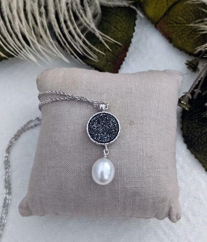 Sterling Silver Druzy Pearl Necklace