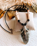 Sterling Silver Bone Leather Wood Arrowhead Necklace N018
