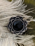 Artisan Crafted Large Sterling Silver Black Onyx Flower Ring