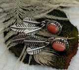Native American Sterling Silver Salmon Coral Feather Earrings