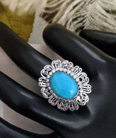 Artisan Crafted Sterling Silver Gem Silica Filigree Ring