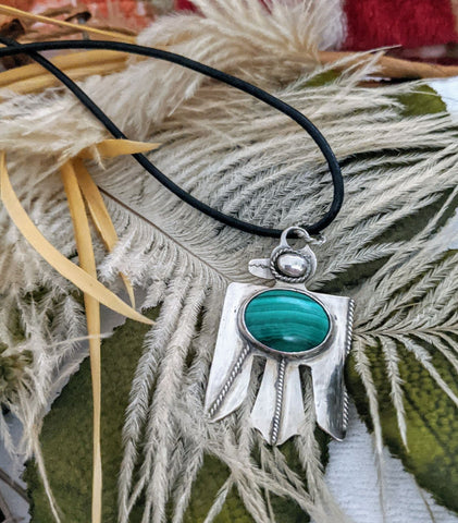 Artisan Crafted Sterling Silver Malachite Leather Eagle Necklace
