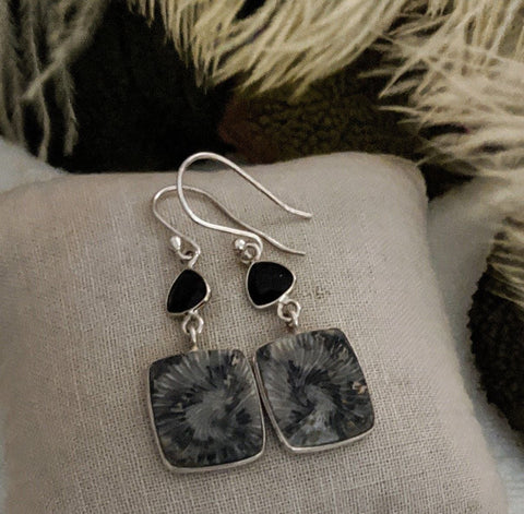 Artisan Crafted Sterling Silver Black Fossil Coral Onyx Earrings