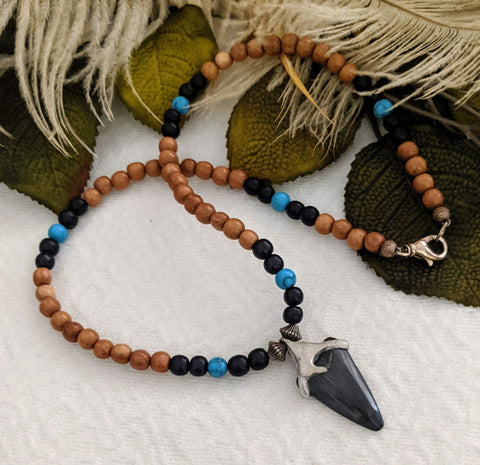 Artisan Crafted Sterling Silver Fossilized Tooth Wood Turquoise Necklace
