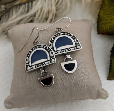Unique Artisan Crafted Sterling Silver Glass Earrings