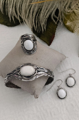 Paz Israel Sterling Silver White Agate Jewelry Set