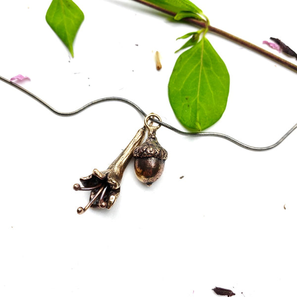 Honeysuckle + Acorn Necklace - Meltdown Studio Jewelry