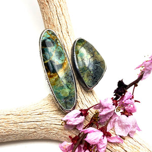 Double Plasma Agate Ring - Meltdown Studio Jewelry