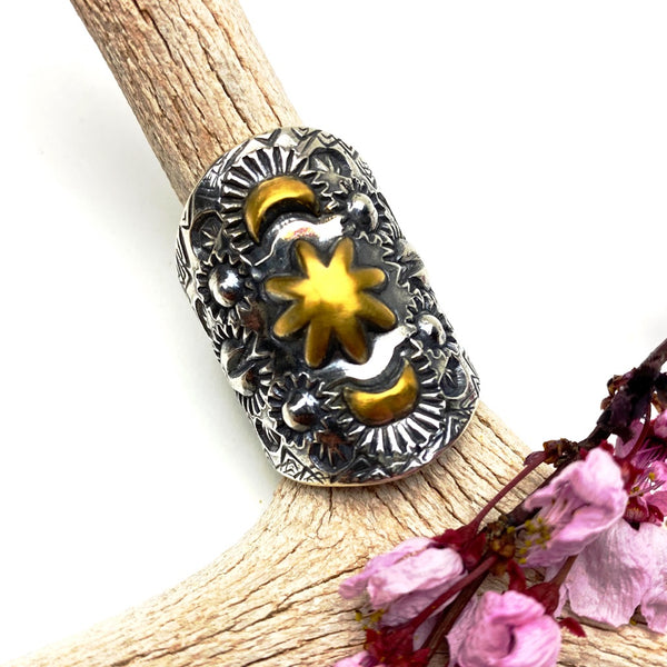 Sterling Silver and Gold Repousse Ring - Meltdown Studio Jewelry