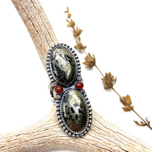 Double Pyrite Statement Ring