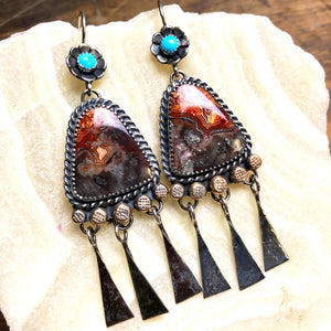Crazy Lace Agate Earrings ((Reserved for Alicia)) - Meltdown Studio Jewelry