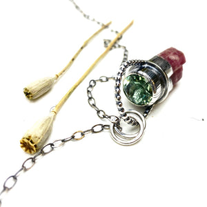 Tourmaline and Prasiolite Pendulum Necklace