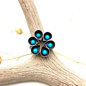 Turquoise Raindrop Cluster Sterling Silver Ring