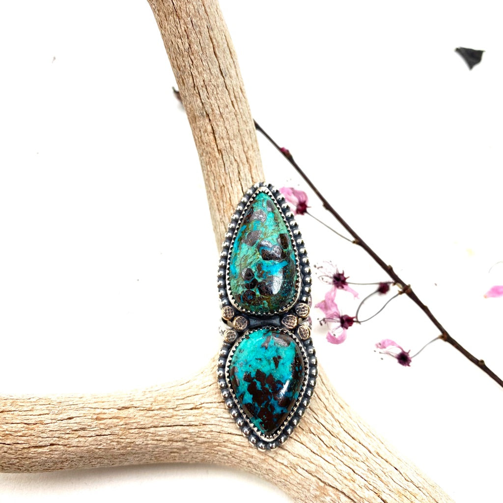 Double Azurite Statement Ring