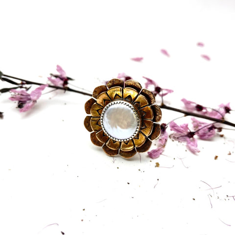 Pearl Blossom Ring - Bronze