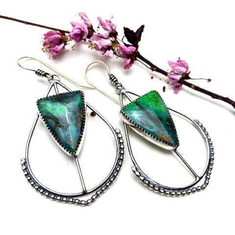 Chrysocolla Hoop Earrings - Meltdown Studio Jewelry
