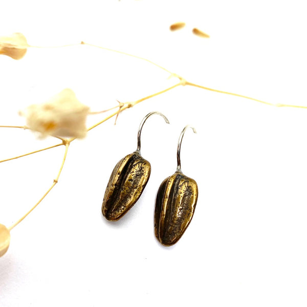 Bronze Sunflower Seed Earrings