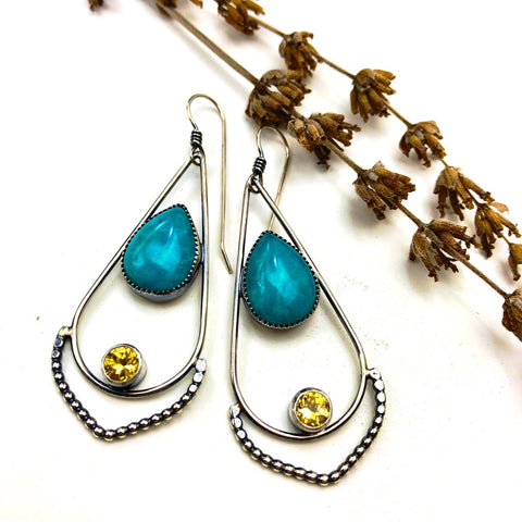 Amazonite and Citrine Hoops - ((reserved for Alex)) - Meltdown Studio Jewelry