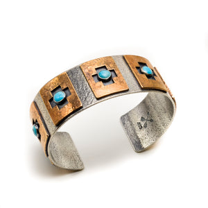 Four Corners Turquoise Cuff - Meltdown Studio Jewelry