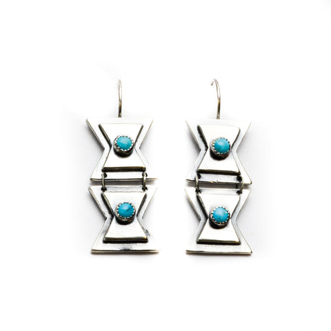 Double Butterfly Turquoise Sterling Silver Earrings