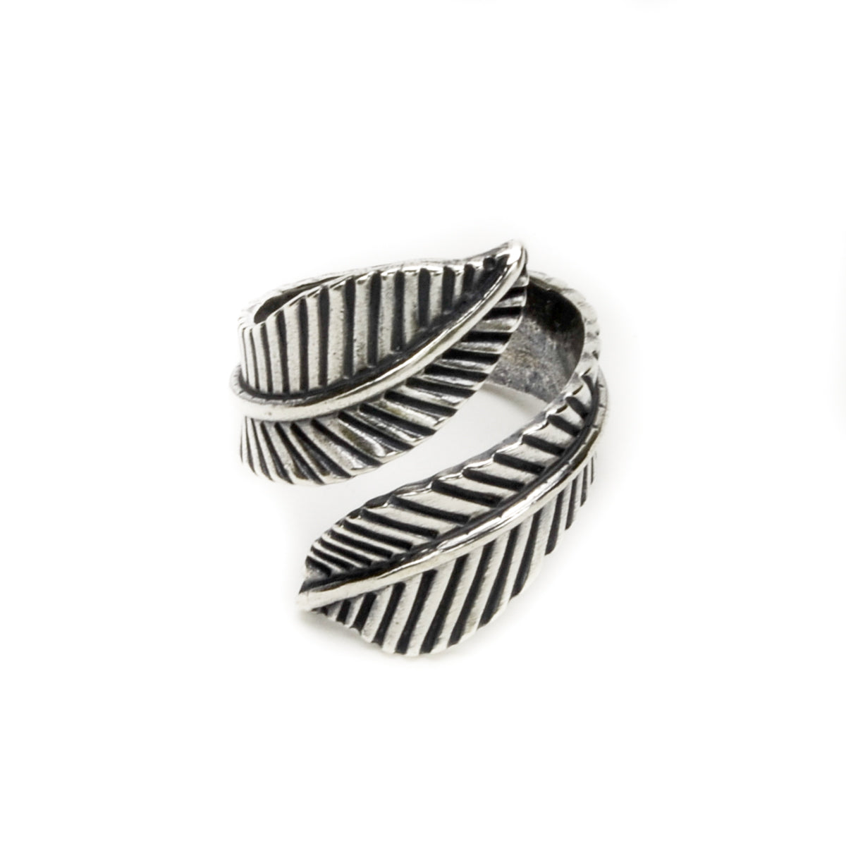 Double Feather Sterling Silver Ring