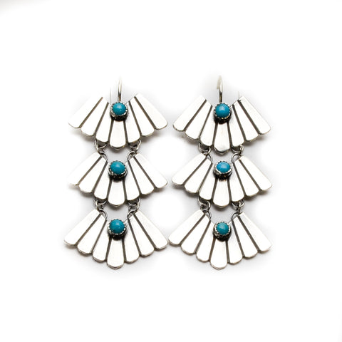 Triple Feather Sterling Silver Earrings
