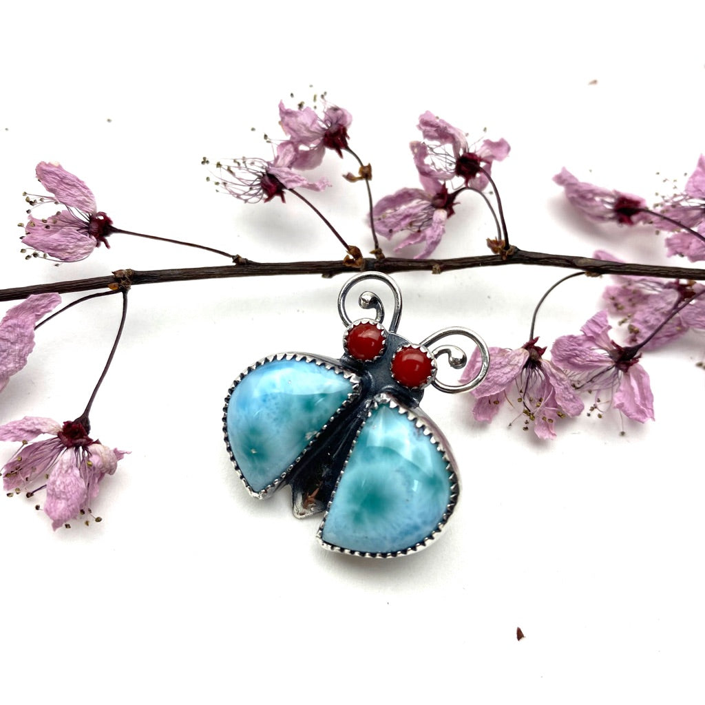 Larimar Bug Pin - Meltdown Studio Jewelry