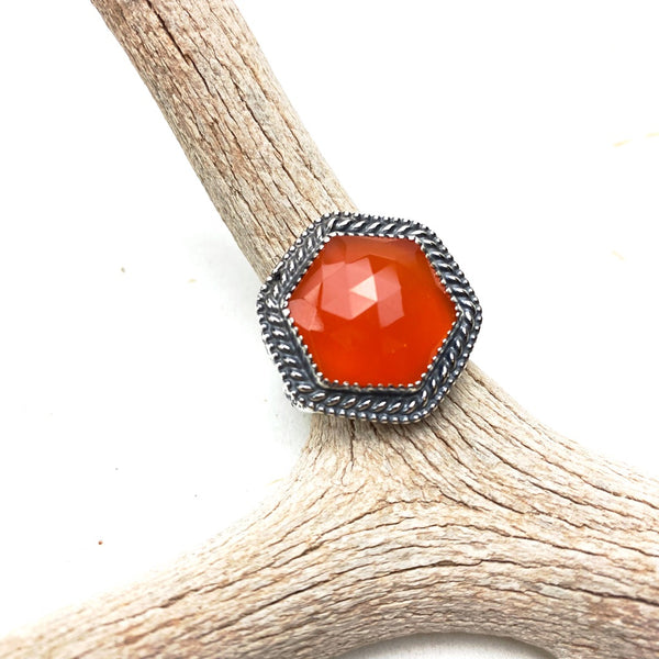 Faceted Carnelian Ring