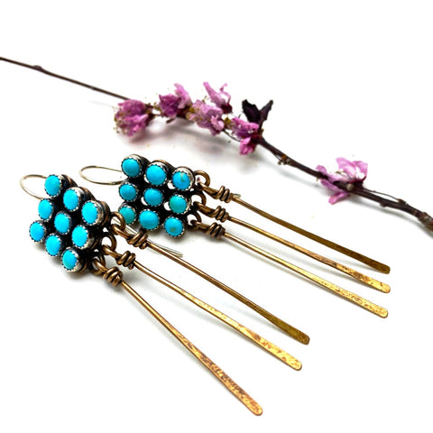 Bronze Turquoise Petit Point Earrings - Meltdown Studio Jewelry
