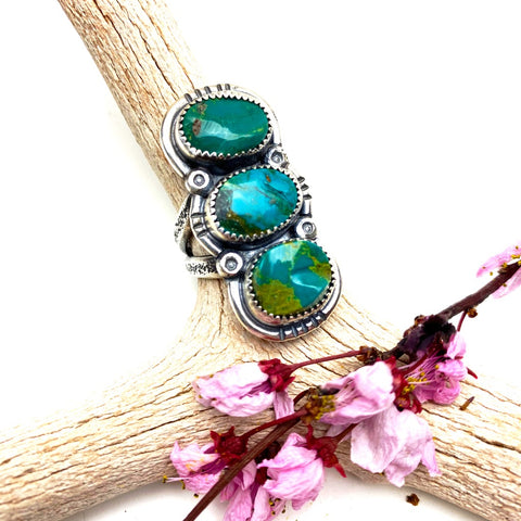Triple Turquoise Statement Ring - Meltdown Studio Jewelry