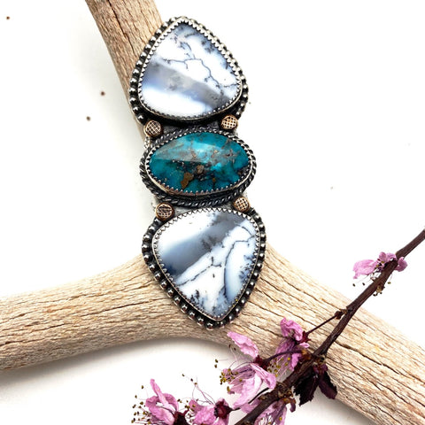 Dendritic Agate and Turquoise Statement Ring - Meltdown Studio Jewelry
